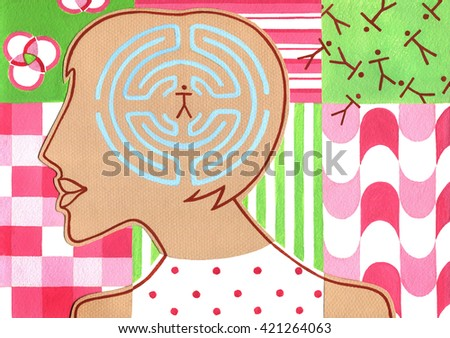 Silhouette of woman with maze in the head on pattern background - stock photo