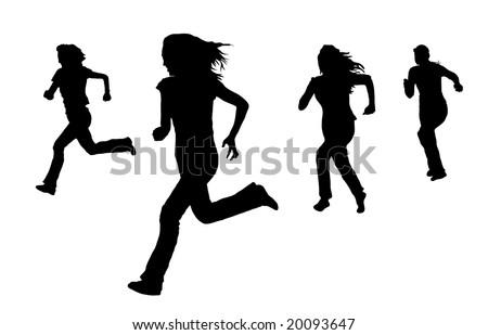 silhouette of women running on white - stock photo