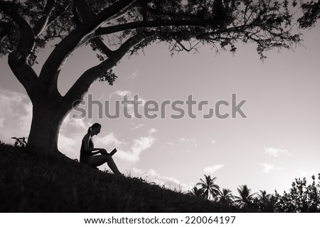 Silhouette of young girl using laptop outdoors - stock photo