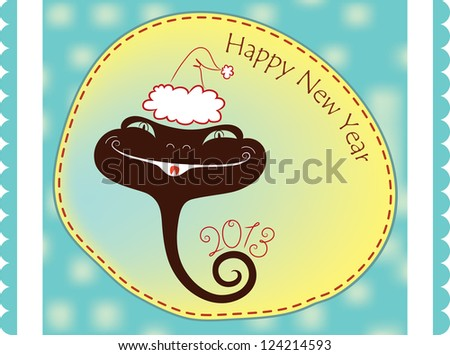Silhouette of young snakes in the hood Santa. raster version - stock photo