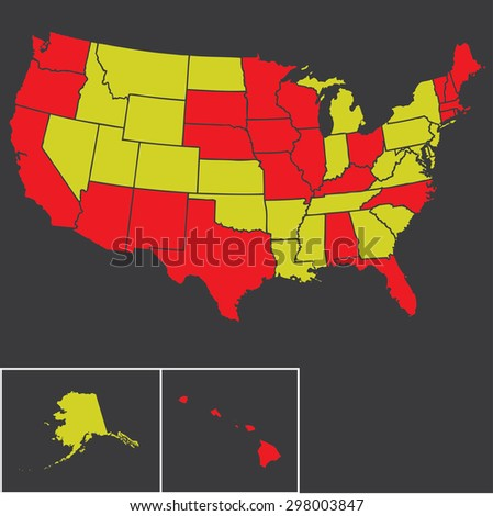 Silhouette outline map of the United States of America - stock photo
