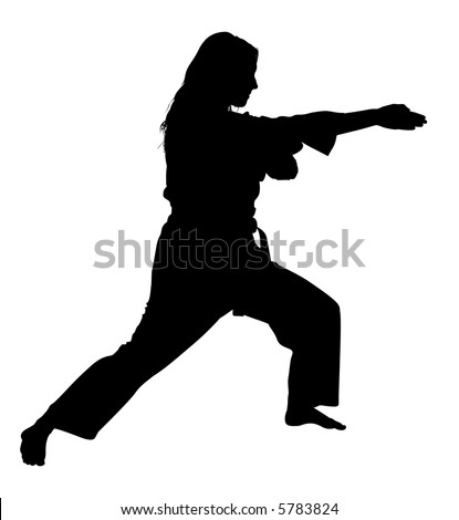 Silhouette over white with clipping path. Full body of woman in martial arts stance. - stock photo