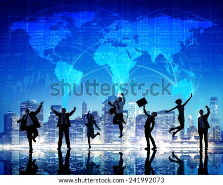 Silhouette People Global Business Cityscape Team Concept - stock photo