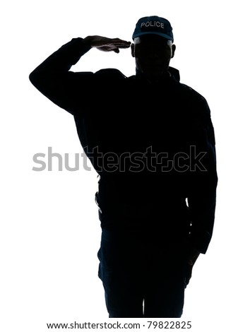 Silhouette policeman saluting in studio on white isolated background - stock photo