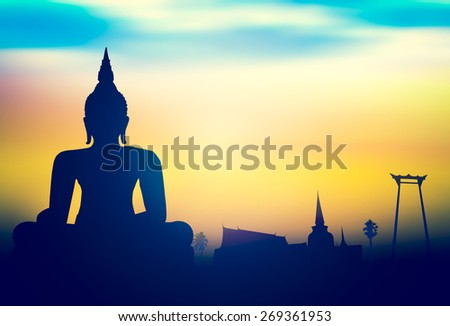 Silhouette public white Buddha, over sunset in Thailand background. - stock photo