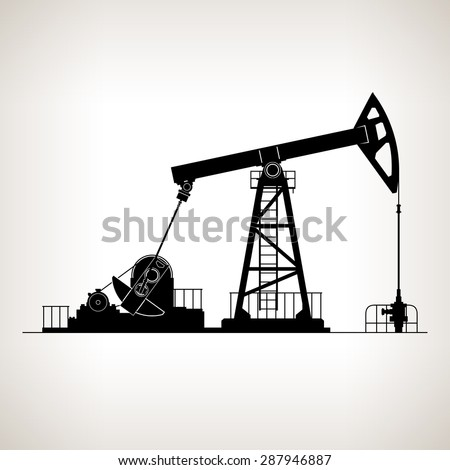Silhouette Pumpjack or Oil Pump , also Called Oil Horse,  Pumping Unit,Gasshopper Pump, Big Texan, or Jack Pump, Overground Drive for a Reciprocating Piston Pump in an Oil Well - stock photo
