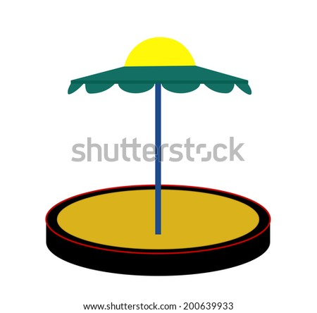 Silhouette Sandbox on White Background.  Illustration - stock photo