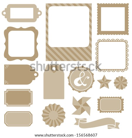 Silhouette scrapbook elements: photo frame, ribbon and tag collection for you design or scrapbook in raster. - stock photo