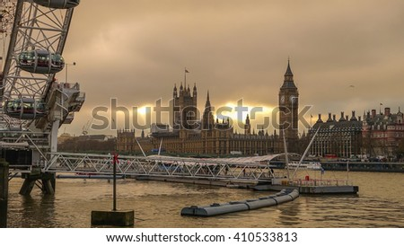 Silhouette shot of London skyline in UK - stock photo
