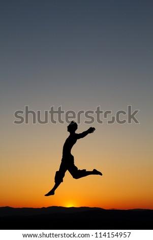 silhouette sunset dance - stock photo