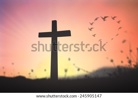 Silhouette the cross over blurred birds flying in the shape of heart against a evening or morning sky in the background. - stock photo