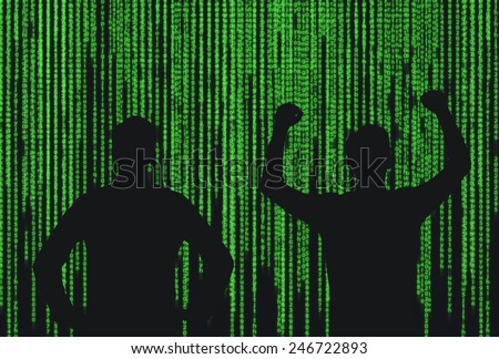 silhouette two  businessman who is appeared through the matrix background - stock photo