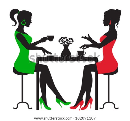silhouette two women drinking coffee at a table on a white background  - stock photo