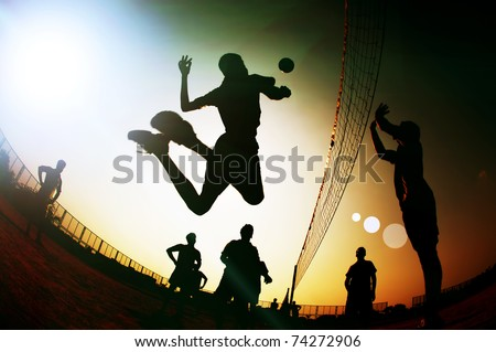 silhouette Volleyball player - stock photo