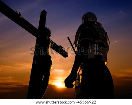 Silhouette warrior about the crucified Jesus - stock photo