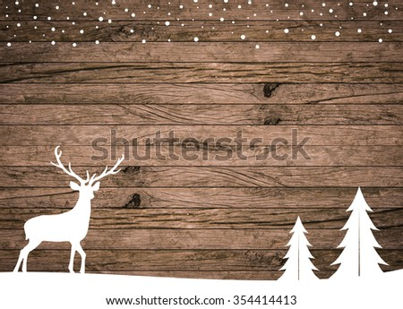 silhouette white reindeer and tree on rustic wood striped panel background for design,decorate concept:xmas backdrop season:merry Christmas festive and new year wallpaper concept.horizontal lines wall - stock photo