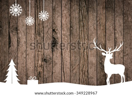 silhouette white reindeer over grunge wood striped panel backgrounds for design,decorate concept:xmas backdrop seasonal:merry Christmas festival and new year wallpaper concept.silhouette with path. - stock photo