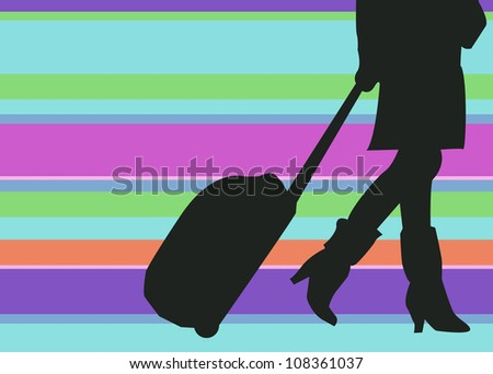Silhouette Woman Traveler with Baggage on colorful Background. Negative space. - stock photo