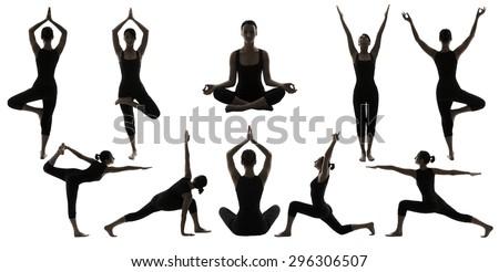 Silhouette Yoga Poses on White, Woman Asana Position Exercise, Posing Female Set Collection - stock photo