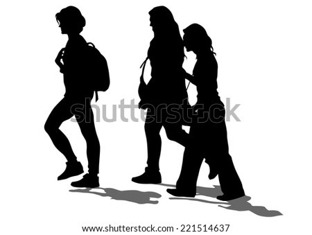 Silhouette young girls on white background - stock photo