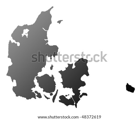 Silhouetted map of Denmark, isolated on white background. - stock photo