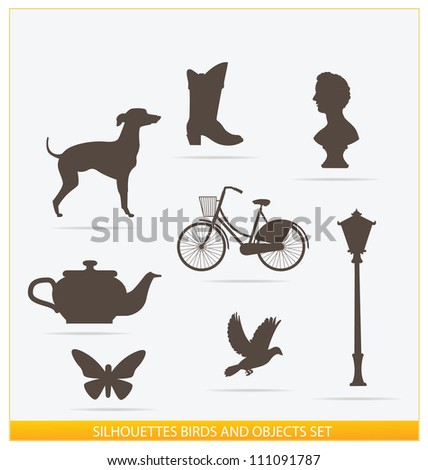 silhouettes birds and objects set isolated - stock photo