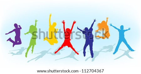 silhouettes kids jumping - stock photo