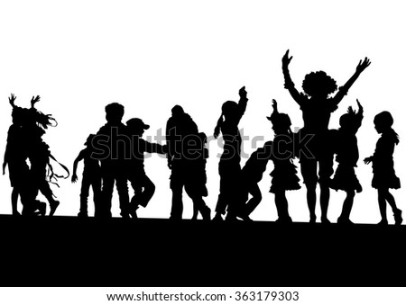 Silhouettes of a little girl and boy on a white background - stock photo