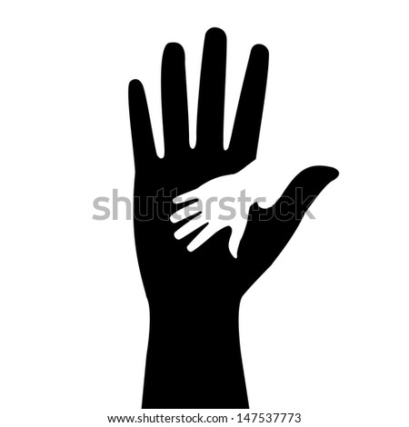 silhouettes of adult and children's hands - stock photo
