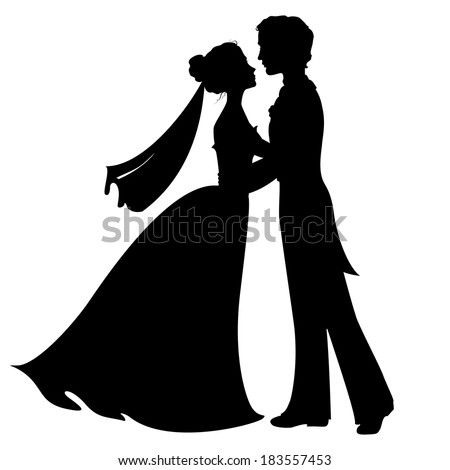 Silhouettes of bride and groom - stock photo