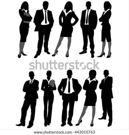 silhouettes of business men and women on white background - stock photo