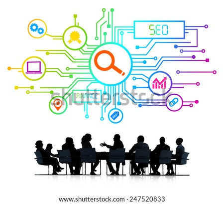 Silhouettes of Business People and SEO Concepts - stock photo