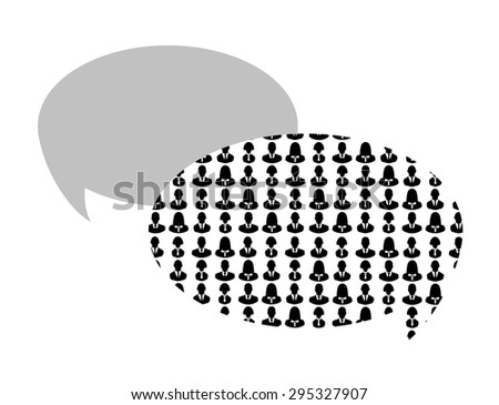 Silhouettes of business people in speech bubble isolated on white - stock photo