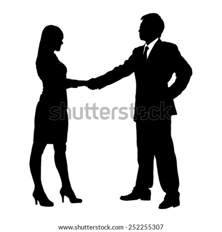 Silhouettes of Business team with white background - stock photo