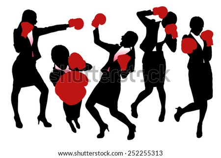 Silhouettes of Business woman boxing and punching, business competition concept. - stock photo