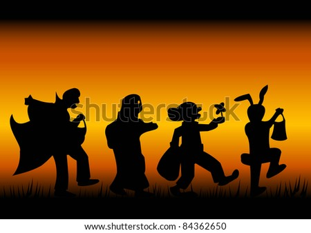 Silhouettes of characters of a halloween on a black-fiery background - stock photo