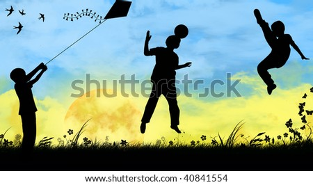 silhouettes of children playing sports - stock photo
