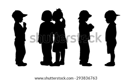 silhouettes of children 3 years old standing in different postures, back and profile view, summertime - stock photo