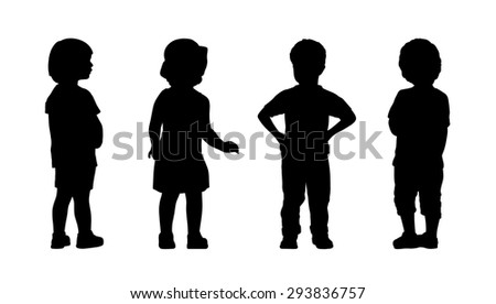 silhouettes of children 3 years old standing in different postures, front and back views, summertime - stock photo