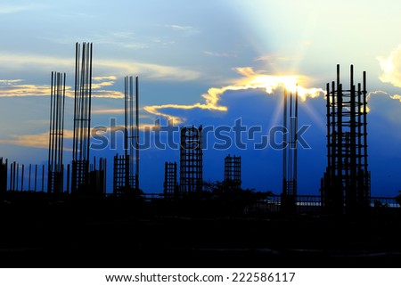 Silhouettes of Construction site on sky background  - stock photo