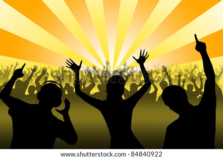 Silhouettes of dancing people in night club - stock photo