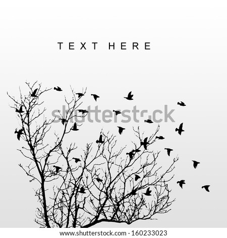 silhouettes of flying birds with tree - stock photo