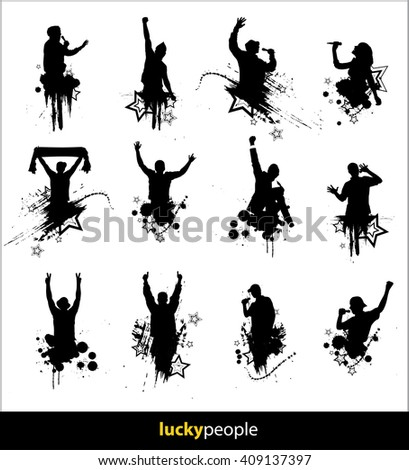 Silhouettes of happy people for different purposes - stock photo