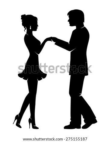 Silhouettes of lovers, men and women holding hands - stock photo