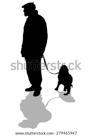 Silhouettes of man with a dog on a leash on a white background - stock photo