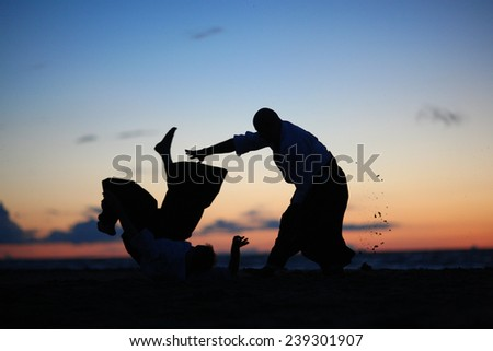Silhouettes of masters practicing martial arts at sunset - stock photo