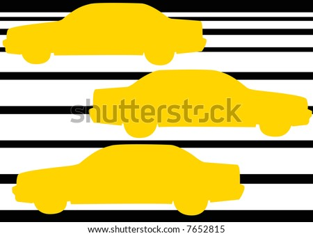 silhouettes of new york taxis driving over zebra crossing - stock photo