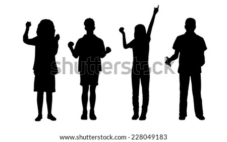 silhouettes of ordinary young men and women holding objects in their hands standing in different postures, front view - stock photo