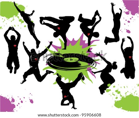 Silhouettes of people dancing and jumping - stock photo