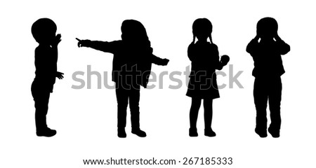 silhouettes of preschoolers girls and boys about 3 years old standing in different postures - stock photo
